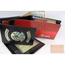 Porta Cheques Em Couro Legítimo Imprensa Profissional C59p