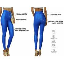 Calça Leg Disco Pants Azul Jeans Cirrê Wet Legging Brilho Up