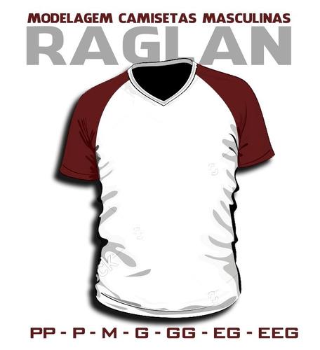 a1c50941eb Raglan Moldes Camisetas Masculinas E Femininas - R  35