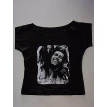 Blusinha Bata Cropped Bob Marley - Bomber