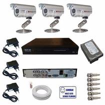 Kit Cftv Sistema Vigilancia 3 Câmeras Acesse Pelo Celular