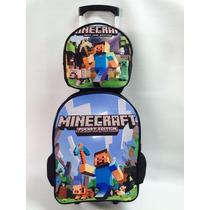 Mochila Infantil Escolar Minecraft + Lancheira Térmica