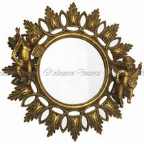 Espelho Redondo Design Classico Anjos Lindos Detalhes