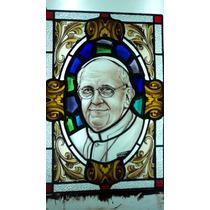 Papa Francisco Vitreaux Original Pintado A Fuego 0,61 X 0,41