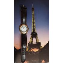 Reloj Frances Clyda Diseño Maquina Dorada Vintaje