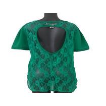Bella Blusa Verde De Chifon Y Blonda Dama Fashion Talla Xl