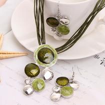 Joyería Conjunto Collar Y Aretes Bolitas Verdes- Cs022