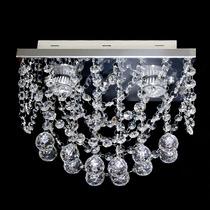 Lustre De Cristal Esfera Plafon Retangular 30x15x20cm