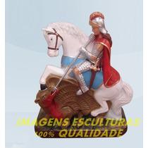Escultura São Jorge Guerreiro Linda Imagem 60cm Frete Gratis