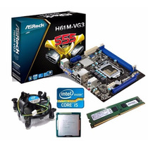 Kit Placa Mãe H61 + Core I5 3470 3.6 Ghz + 4gb Ddr3 1600mhz