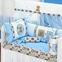 Kit Berço Patchwork Menino Urso Azul 11 Peças