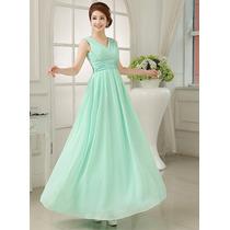 Vestido Longo Festa Verde Tiffany Madrinha Formatura Chiffon
