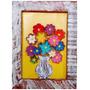 Quadro Vaso De Flores Sobrepostas Madeira Colorido Rustico