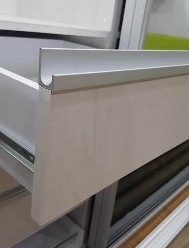 Perfil tirador j frente cuadrado de aluminio cocinas - Tiradores cocina modernos ...