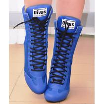 Bota Treino Divas Cano Longo Azul Academia Fitness