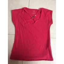 Blusa Armani Exchange Xs Roja Con Logo Al Frente Escote
