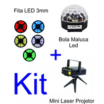 Mini Laser Projetor + Bola Maluca Led Rgb + Fita Led 3mm 12v