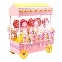 Mesa De Dulces Carrito Baby Shower Cumpleaños Rosa Con Dulce