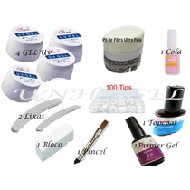 Kit Gel Uv Unhas Acrygel Cola Tips Lixa Pó De Fibra Primer