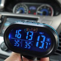 Monitor Digital D Lcd Termômetro Tensão Alarm Relógio 12-24v