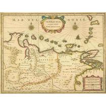 Lienzo Tela Carta Sur América Venezuela Siglo 17 Mapa 50x60