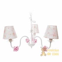 Lustre 3 Lâmpadas C/6 Flores P Rosa Quarto Bebê Infantil