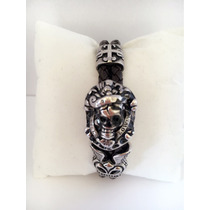 Bracelete Pulseira Masculino Vintage Couro Aço Frete Grátis