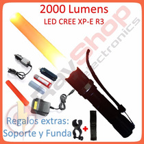 Lámpara Táctica 2000 Lms Led Cree Xp-e R3, Swat, Recargable