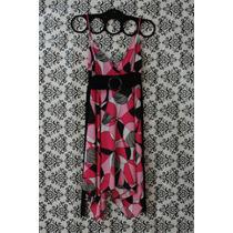Bonito Vestido Liz Minelli Talla S Rosa Caída Asimétrica