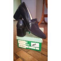 Zapatos De Mujer Pascualini, Combinado Cuero Y Tela Elastiza