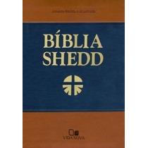 Bíblia De Estudo Shedd Luxo - Azul E Marrom