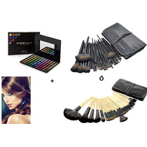 Kit Paleta Sombras Profesionales+32 Brochas Make Up For You