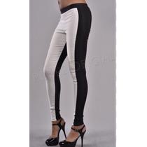 Calza Legging Combinada Negro Y Blanco Mejor Precio
