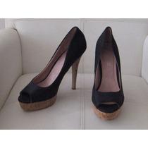 Zapato Negro Con Taco Alto Corcho, Aldo, Talla 40