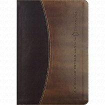 Biblia De Estudo Anotada Expandida Capa Luxo Marron C Preto