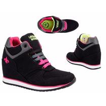 Tenis Bota C/ Cuña Urban Shoes 061 Id 137527 Negro
