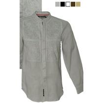 Guayabera Camisa 100%lino Cueyo Mao Con Bordado