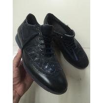 Zapatos Franco Cuadra Piel Exótica Azul Marino 8.5 Mexmex