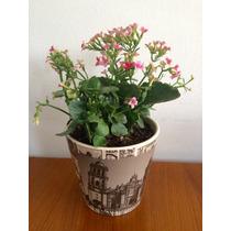 Maceta Tipo Vintage Con Sellos Postales Con Flores !!!