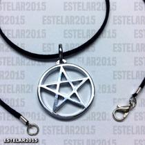 Colar Camurça E Pingente Pentagrama Estrela Wicca Cromada