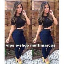 Kit Calça E Short Jeans Cintura Alta Hot Pants Super Oferta