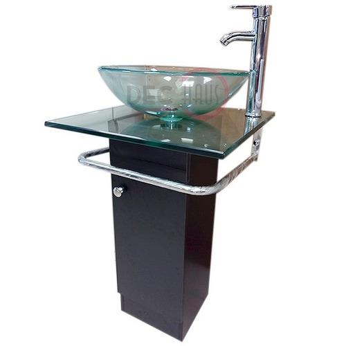 Vanitorio dual mdf vidrio templado 50x50x73 cms dec haus for Lavamanos sobrepuesto