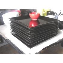 Platos Cuadrado Playos Negro - Blanco 25x25cm Hondo 22x22cm