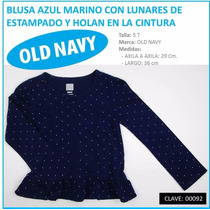 Blusa Azul Marino Manga Larga Marca Old Navy Talla 5 T