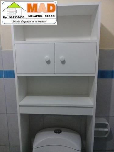 Mueble de ba o estante repisa inodoro melamine bl s 219 for Implementos de bano