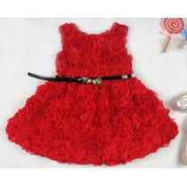 Hermoso Vestido De Rosas Rojas Para Niñas!
