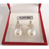 Aros Lady Di Plata 925 Cúbics Y Perla Preciosos!!!