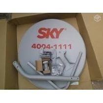 Kit Com 4 Antenas Sky 60 Cm + Cabo+lnb+conectores+