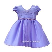 Vestido Infantil De Festa Luxo Princesa Sofia Com Tiara