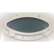 Vigia Gaiuta Oval Em Abs Branco 20x40cm C/ Vidro Temperado